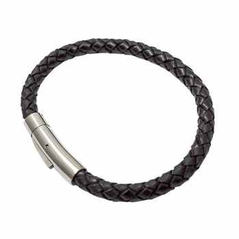 Button lock opening custom leather braided rope bracelet