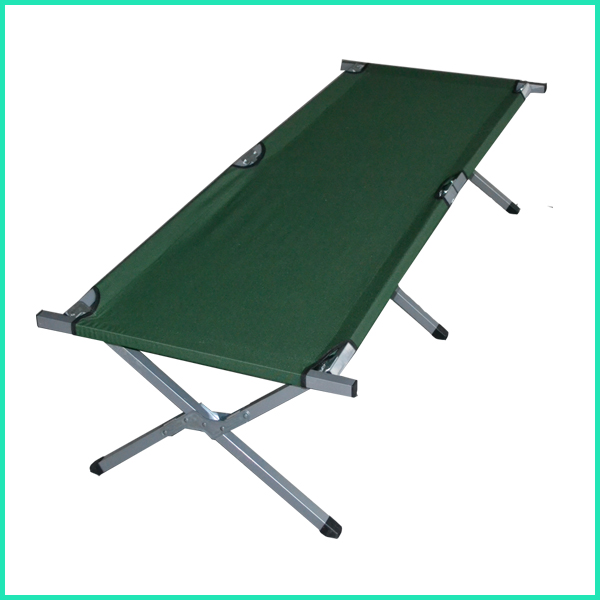 Lightweight cheap military outdoor folding bed, portable metal bed for beach