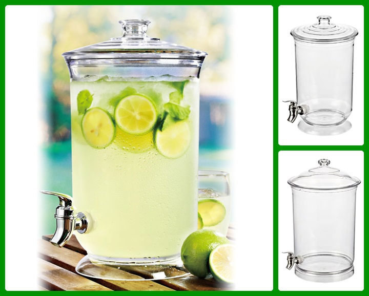 3 Gallon Clear Plastic Cold Drinking Juice Dispenser with Lid
