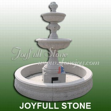 Carved Stone Garden Fountain, fountain with lion heads carving