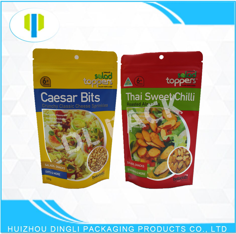 SGS approval stand up zipper aluminum foil salad packaging bags