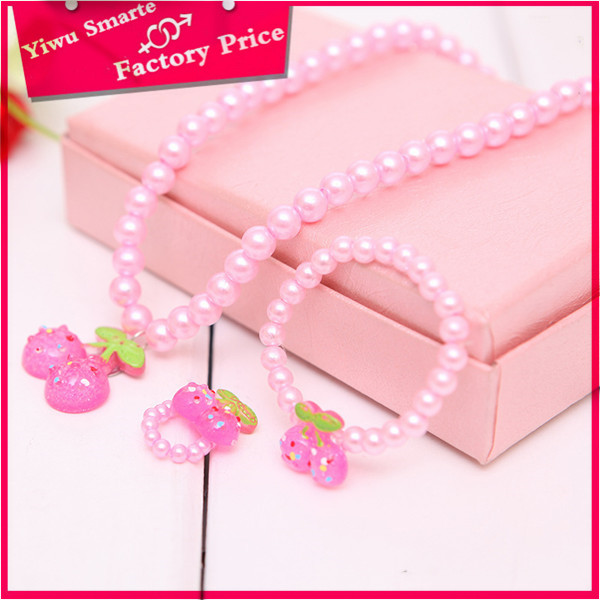 Hot new fashion philippines cheapest custume fake pink pearl beads jewelry set for children
