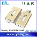 Zyiming 128GB 64GB Hot selling otg usb disk 3 in 1 usb flash drive for iphone smart phone usb pendrive