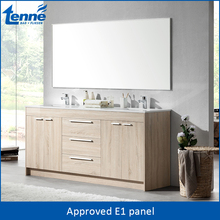 OEM service available modern wood color waterproof bathroom double wash basin vanity cabinet