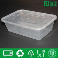 PP food grade clear hard plastic boxes 1250ml