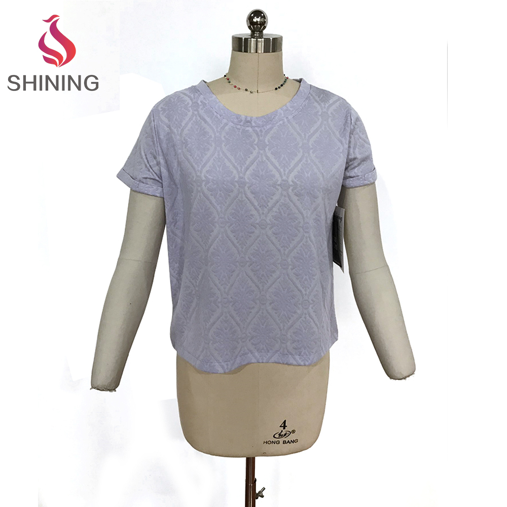 98% POLY 2% SP 190GSM Quick Dry Jacquard Light purple women t shirt suppliers