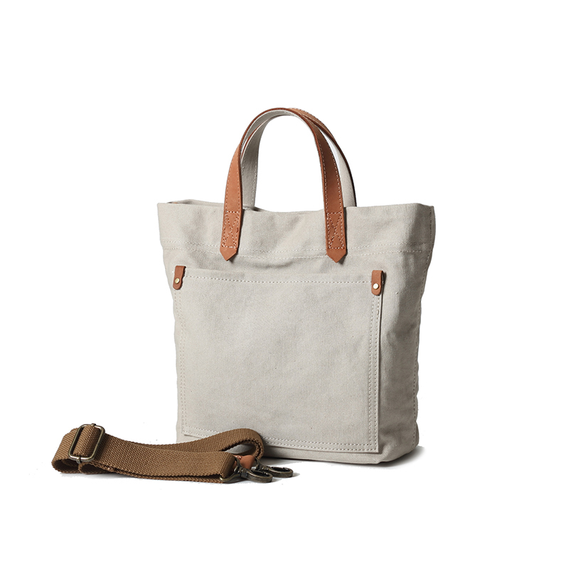 Mergeboon custom canvas tote bag leather handle with outside pockets