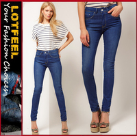 High Waist Skinny Jeans in Vintage True Blue for women (LOTX137)
