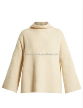 Womens Heavy Weight Ribbed-Knit Pullover High Neck Cashmere Sweater