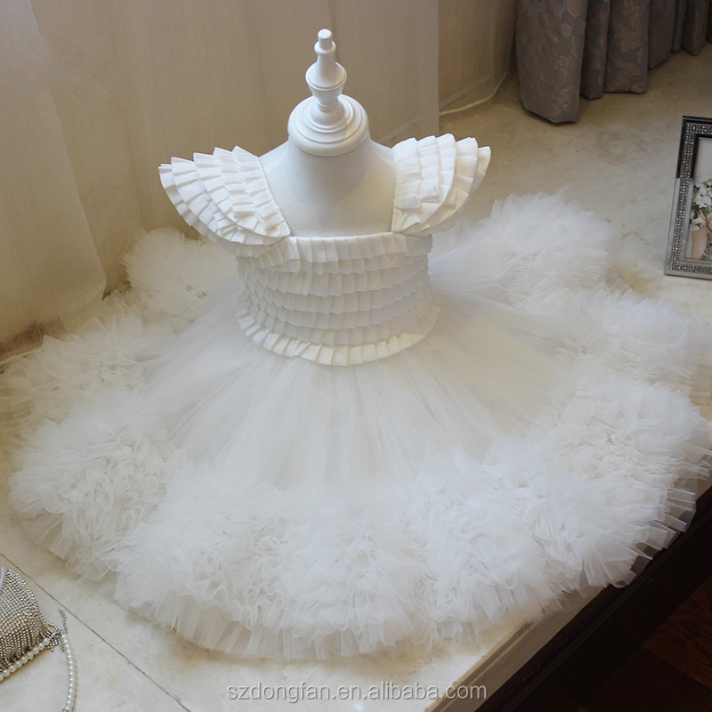 Baby Frock Design Pictures Little Princess White Flutter Sleeve Tutu Dress Toddle Girls Flower Dress