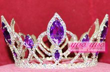 fashion purple AB crystal beauty pageant decoration princess tiara crown