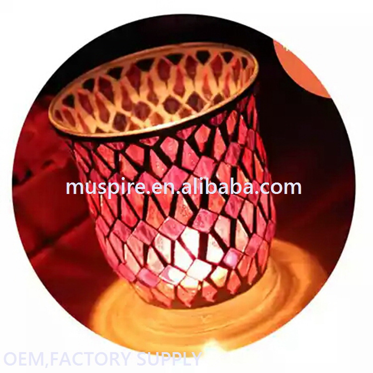 Glass Crafts_Mosaic candle holder!GCHM428 Mosaic Candle Holder#zt GCHM428 Mosaic Candle Holder (1)