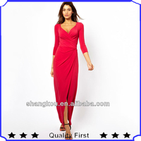 high fashion designer clothing manufactures in china women fall winter prom dress 3/4 Sleeve Wrap Maxi Dress shkq21
