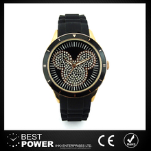 wholesale Hot sale silicone belt diamond dial round shape lady watch