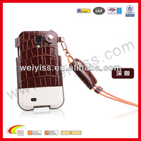 New fashion style leather cases for samsung galaxy s4 mini 19190 , croco lanyard phone case