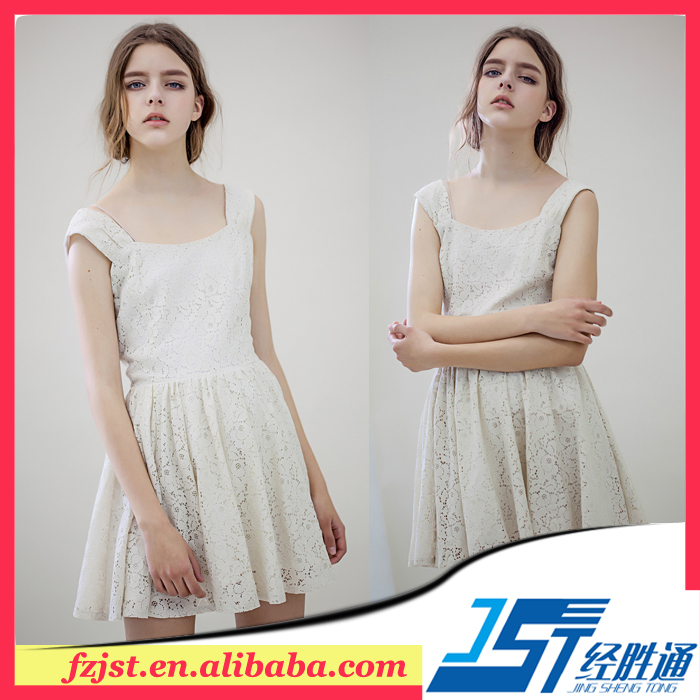 2016 girls summer dress stock beige/pink/black lace girls dresses online sale