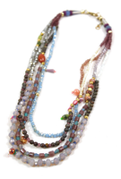 natural mixed color crystal beaded fashion long mother of pearl necklace jewelry