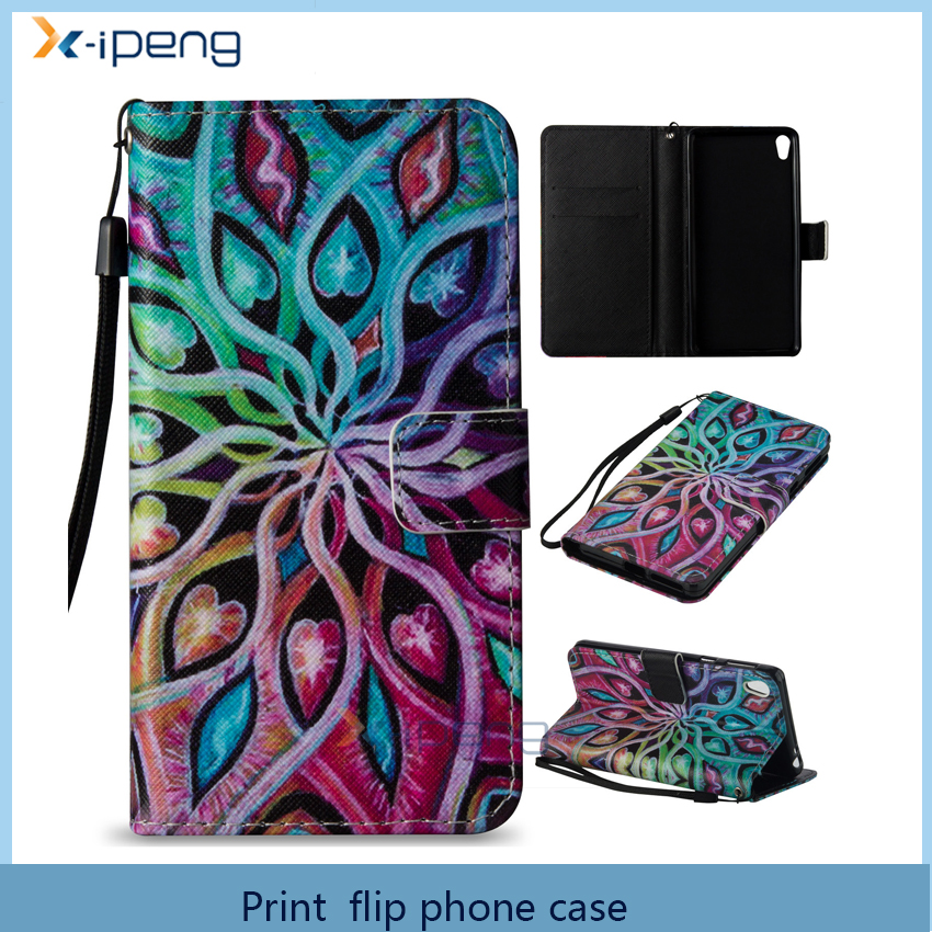 Customized New Printing pattern mobile phone cover stand function pu leather flip case for sony xperia e5