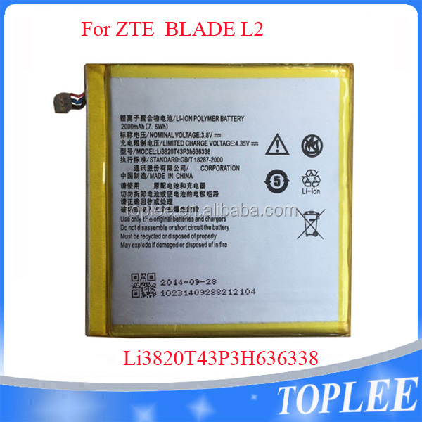 Genuine Lithium OEM battery For ZTE BLADE L2 Li3820T43P3H636338 2000MAH 3.8V