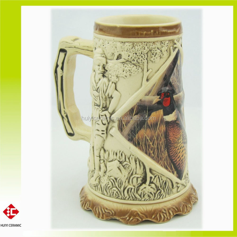 New designed Hand Painted and Embossed Ceramic Beer Mug with decal