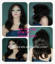 High density 16'' natural straight lace wig natural color