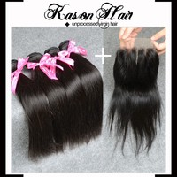 Qingdao Kason Hait Hot Sale High Quality 7A Straight Virgin Brazilian Hair 3Bundles With Lace Closure