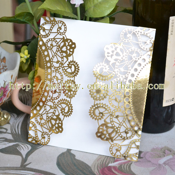 Hot sale wedding cards invitations , hot sale gold laser cut wedding invitation