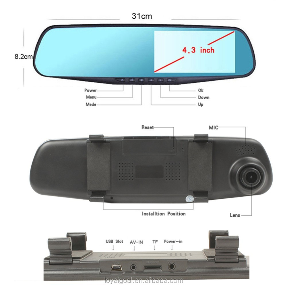 Factory Promotion HD Rearview Mirror Cam M301dual lens car camera
