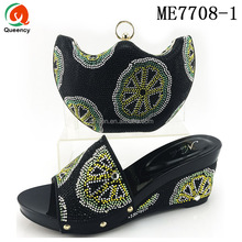 Queency Fashion Nigerian Italian Matching Sandals Shoes And Clutch Bag Set Women