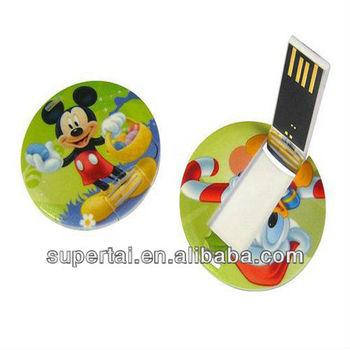 Promotional gift plastic round Mini card pendrive with Custom Full Color Printing 1gb 2gb 4gb 8gb 16gb