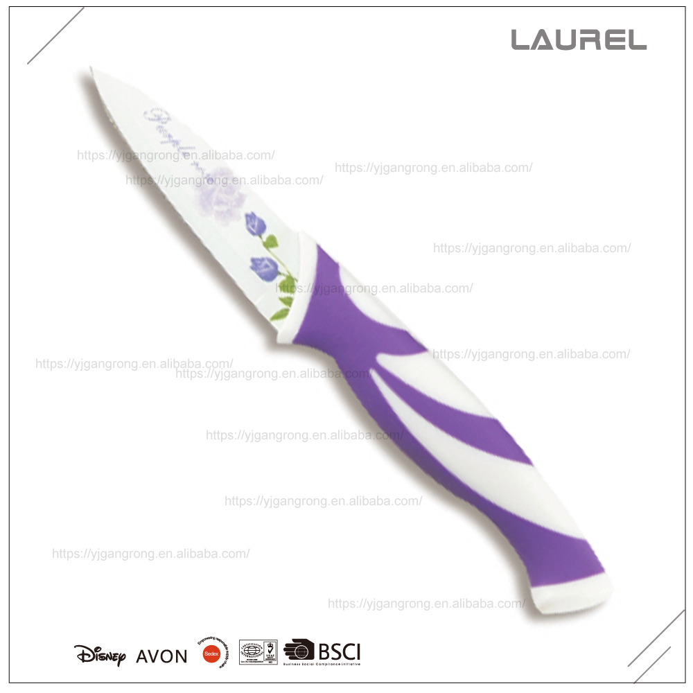 "Blade printing Fruit/Paring knife 8"" with PP + TPR handle"