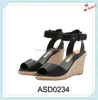 High quality fancy heel wedge sandals ladies rope interlayer new fashionable sandals