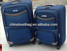 Ultra Lightweight Blue Twill Panel Trolley Luggage Suitcase Bag 2 set