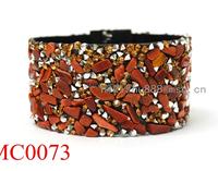 Wholesale Bling Bling Titanium Magnetic Bracelet with goldstone gravel