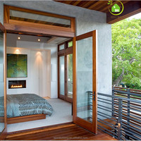 Unique French doors wood glass bedroom door /Decorative glass french doors