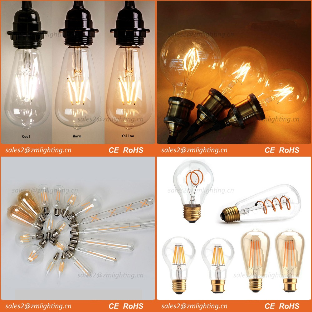 High Quality LED filament bulb 2W 4W 6W 8W Wholesale led filament bulb light E27 E14 B22 dimmable Led lights LED filament bulb