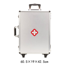 Rolling silver aluminum tool box trolley medical instrument case