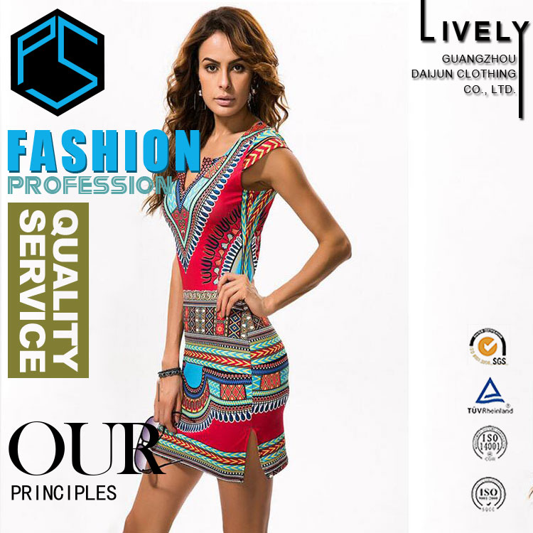 Hong Xiong new fahsion style short sleeve with pattern african design dresses