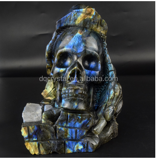 Natural quartz Labradorite stone Carved crystal Skull for sale