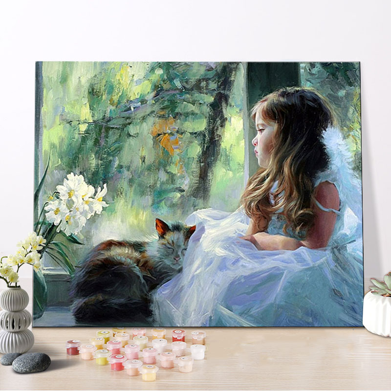 CHENISTORY DZ1049 Painting By Numbers Pictures Beautiful Girl On Canvas With Wood Frame