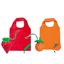 polyester pattern folding fruit and vegetables strawberry folding shopping bag