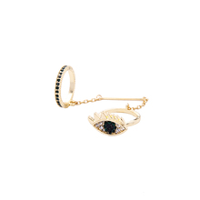 jz00175c Unique Gold Plated Shiny Crystal Blue Eye Chain Link Double Ring Fashion Jewelry Women