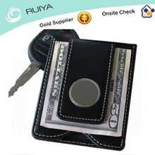 Leather Money Clip Credit Card Holder Top Grain Cowhide Leather