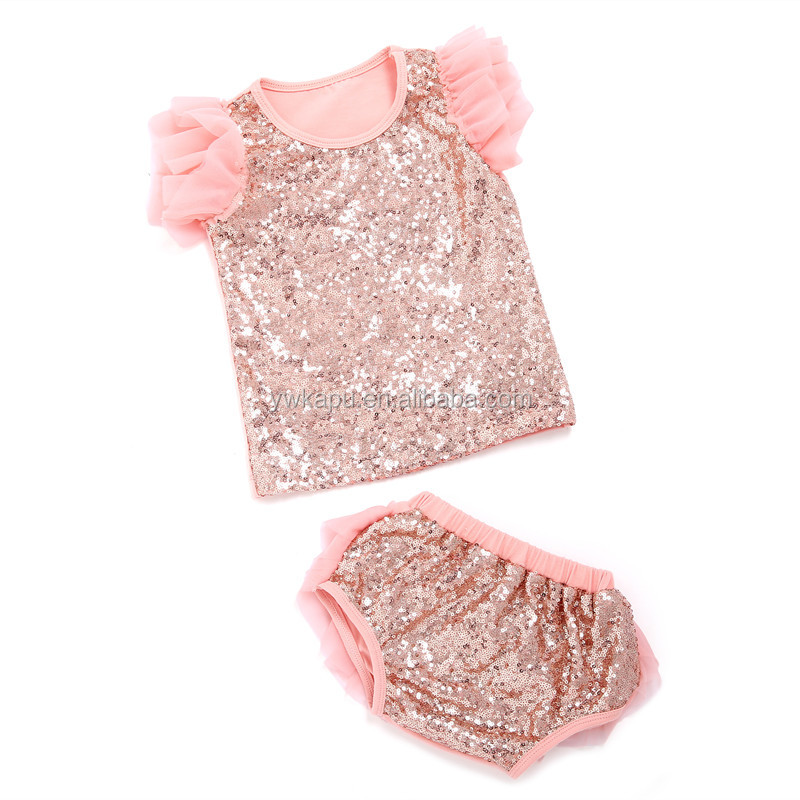 online shopping fashion clothing 2016 sequin top and bloomer bulk wholesale kids clothing with chiffon boutique baby clothes