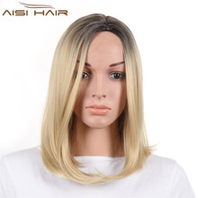 Synthetic Straight Ombre Blonde Wigs Heat Resistant Fiber Short Bob Wigs For American African Women