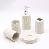 Matte white new design bathroom sets with hear shpe relief