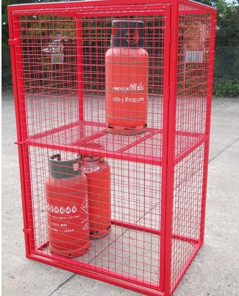 2 x propane 19kg mobile gas cylinder storage wheeled bottle cage