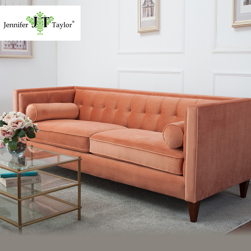 Upholstered Velvet Three-seat Tufted Sectional Sofa/Modern American Style Orange Fabric Bolster Couch Living Room furniture