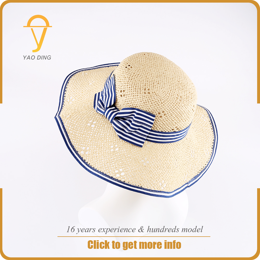 Wholesale straw fancy child kids custom sun floppy hat to decorate for children