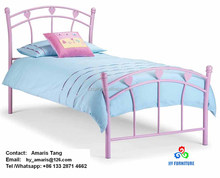 Zhangzhou metal children beds pink hearts child bed frames wholesale